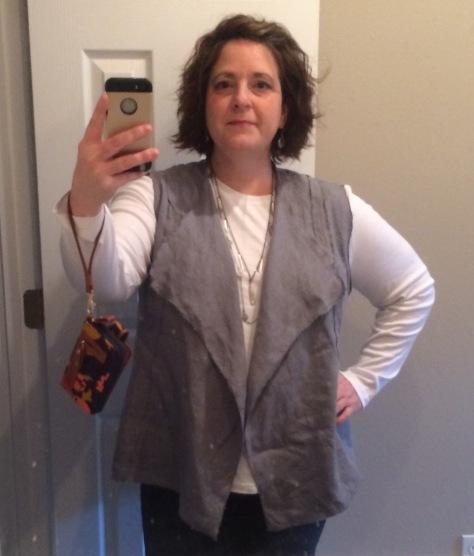 linen modern silhouette vest