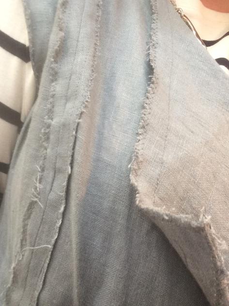 linen vest detail